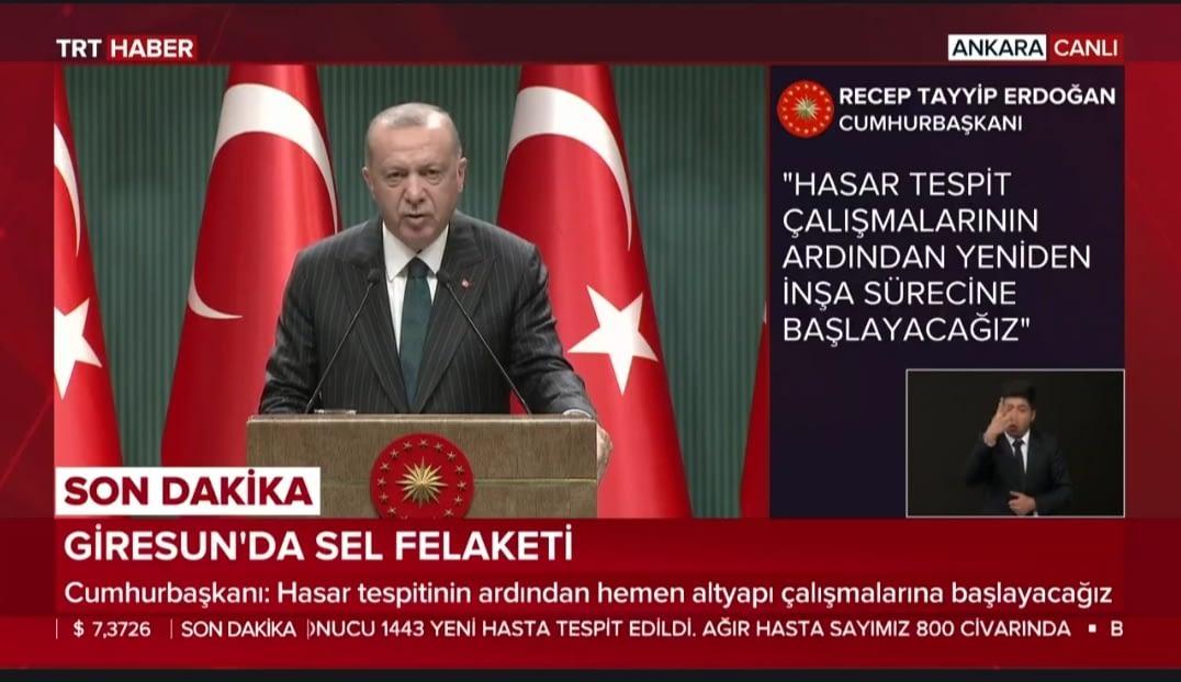 Recep Tayyip Erdoğan Pazartesi Giresun'da Olacağım